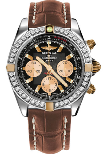 Breitling Watches - Chronomat 44 Two-Tone 40 Dia Bezel - Croco Strap - Deployant - Style No: IB011053/B968-croco-gold-deployant