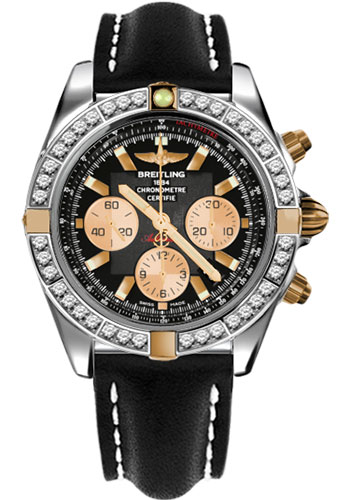 Breitling Watches - Chronomat 44 Two-Tone 40 Dia Bezel - Leather Strap - Tang - Style No: IB011053/B968-leather-black-tang