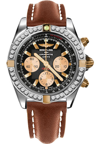 Breitling Watches - Chronomat 44 Two-Tone 40 Dia Bezel - Leather Strap - Tang - Style No: IB011053/B968-leather-gold-tang