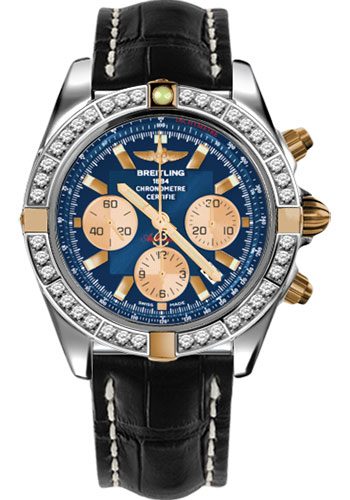 Breitling Watches - Chronomat 44 Two-Tone 40 Dia Bezel - Croco Strap - Deployant - Style No: IB011053/C790-croco-black-deployant