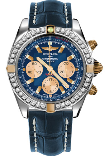 Breitling Watches - Chronomat 44 Two-Tone 40 Dia Bezel - Croco Strap - Deployant - Style No: IB011053/C790-croco-blue-deployant