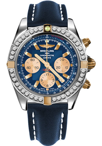 Breitling Watches - Chronomat 44 Two-Tone 40 Dia Bezel - Leather Strap - Tang - Style No: IB011053/C790-leather-blue-tang