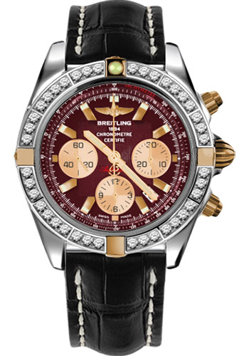 Breitling Watches - Chronomat 44 Two-Tone 40 Dia Bezel - Croco Strap - Deployant - Style No: IB011053/K524-croco-black-deployant