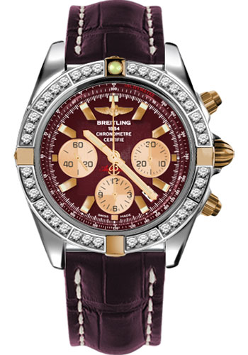 Breitling Watches - Chronomat 44 Two-Tone 40 Dia Bezel - Croco Strap - Tang - Style No: IB011053/K524-croco-burgundy-tang
