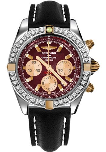 Breitling Watches - Chronomat 44 Two-Tone 40 Dia Bezel - Leather Strap - Tang - Style No: IB011053/K524-leather-black-tang