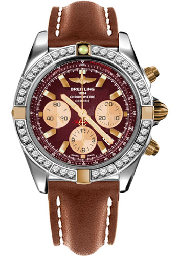 Breitling Watches - Chronomat 44 Two-Tone 40 Dia Bezel - Leather Strap - Tang - Style No: IB011053/K524-leather-gold-tang