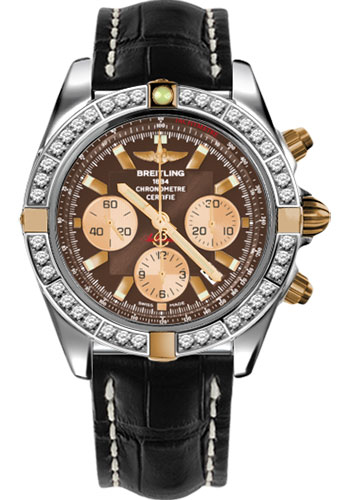 Breitling Watches - Chronomat 44 Two-Tone 40 Dia Bezel - Croco Strap - Deployant - Style No: IB011053/Q576-croco-black-deployant