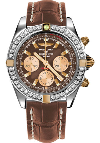 Breitling Watches - Chronomat 44 Two-Tone 40 Dia Bezel - Croco Strap - Deployant - Style No: IB011053/Q576-croco-gold-deployant