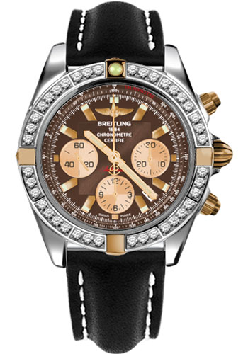 Breitling Watches - Chronomat 44 Two-Tone 40 Dia Bezel - Leather Strap - Tang - Style No: IB011053/Q576-leather-black-tang