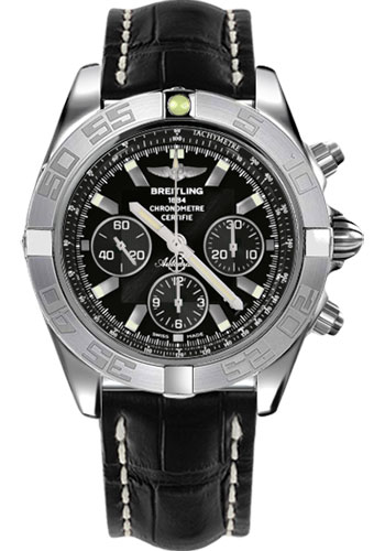 Breitling Watches - Chronomat 44 White Gold Polished Bezel - Croco Strap - Tang - Style No: JB011011/B972-croco-black-tang