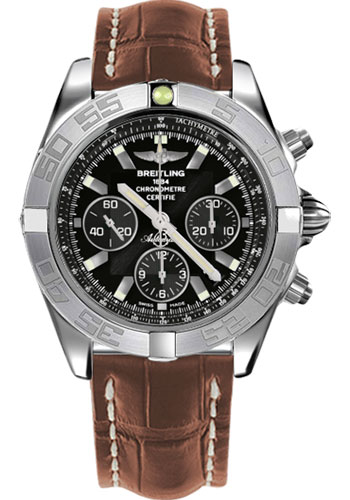 Breitling Watches - Chronomat 44 White Gold Polished Bezel - Croco Strap - Tang - Style No: JB011011/B972-croco-gold-tang