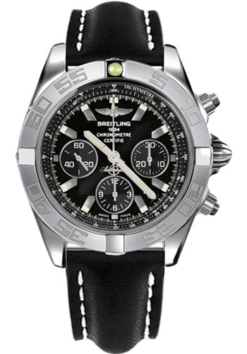 Breitling Watches - Chronomat 44 White Gold Polished Bezel - Leather Strap - Deployant - Style No: JB011011/B972-leather-black-deployant