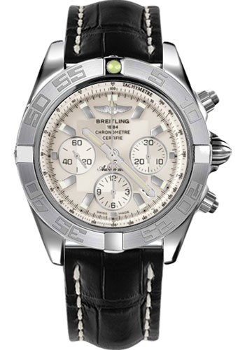 Breitling Watches - Chronomat 44 White Gold Polished Bezel - Croco Strap - Tang - Style No: JB011011/G688-croco-black-tang