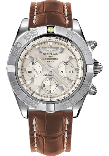Breitling Watches - Chronomat 44 White Gold Polished Bezel - Croco Strap - Tang - Style No: JB011011/G688-croco-gold-tang