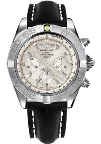 Breitling Watches - Chronomat 44 White Gold Polished Bezel - Leather Strap - Tang - Style No: JB011011/G688-leather-black-tang