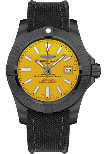 Breitling Watches - Avenger II Seawolf Black Steel Limited Edition - Style No: M17331E2/I530-military-rubber-anthracite-black-deployant
