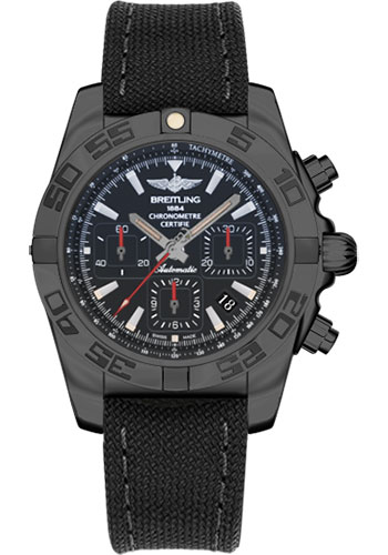 Breitling Watches - Chronomat 44 Black Steel - Style No: MB0111C3/BE35-military-rubber-anthracite-black-deployant
