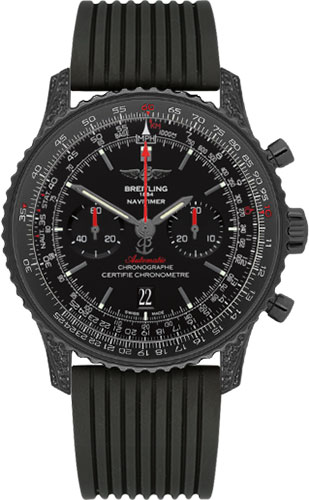 Breitling Watches - Navitimer 01 46mm - Black Steel Diamonds - Rubber Strap - Style No: MB0128AN/BE51-rubber-black-deployant