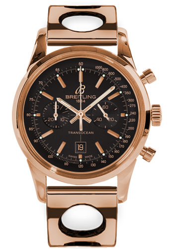 Breitling Watches - Transocean Chronograph 38 Red Gold - Air Racer Bracelet - Style No: R4131012/BC07-air-racer-red-gold