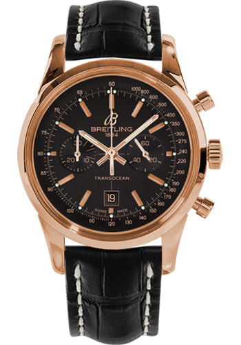 Breitling Watches - Transocean Chronograph 38 Red Gold - Croco Strap - Deployant - Style No: R4131012/BC07-croco-black-deployant