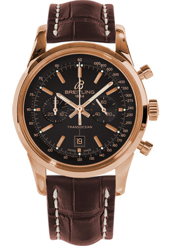Breitling Watches - Transocean Chronograph 38 Red Gold - Croco Strap - Tang - Style No: R4131012/BC07-croco-brown-tang