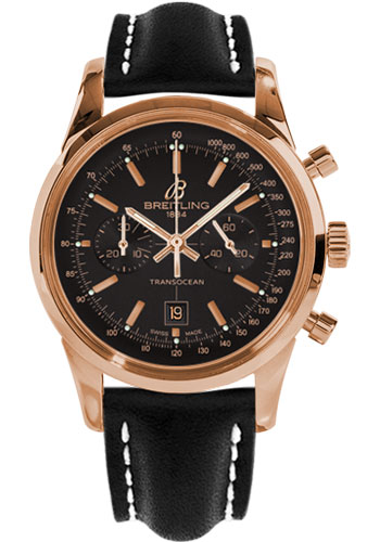 Breitling Watches - Transocean Chronograph 38 Red Gold - Leather Strap - Deployant - Style No: R4131012/BC07-leather-black-deployant