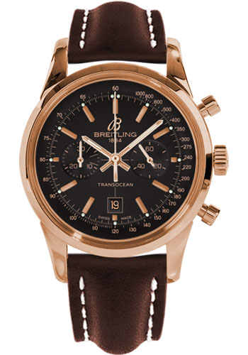 Breitling Watches - Transocean Chronograph 38 Red Gold - Leather Strap - Deployant - Style No: R4131012/BC07-leather-brown-deployant