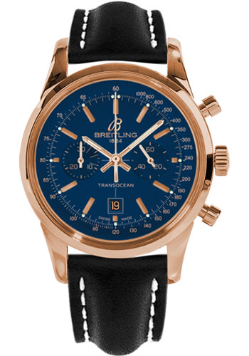 Breitling Watches - Transocean Chronograph 38 Red Gold - Leather Strap - Deployant - Style No: R4131012/C863-leather-black-deployant