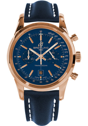 Breitling Watches - Transocean Chronograph 38 Red Gold - Leather Strap - Deployant - Style No: R4131012/C863-leather-blue-deployant