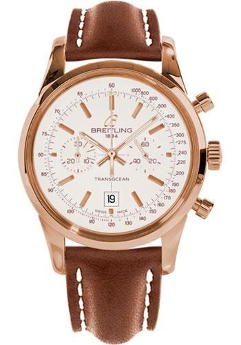 Breitling Watches - Transocean Chronograph 38 Red Gold - Leather Strap - Deployant - Style No: R4131012/G758-leather-gold-deployant