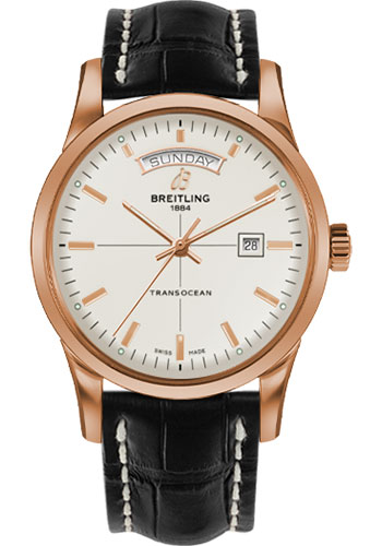 Breitling Watches - Transocean Day and Date Red Gold on Croco Deployant - Style No: R4531012/G752-croco-black-deployant