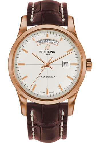 Breitling Watches - Transocean Day and Date Red Gold on Croco Deployant - Style No: R4531012/G752-croco-brown-deployant