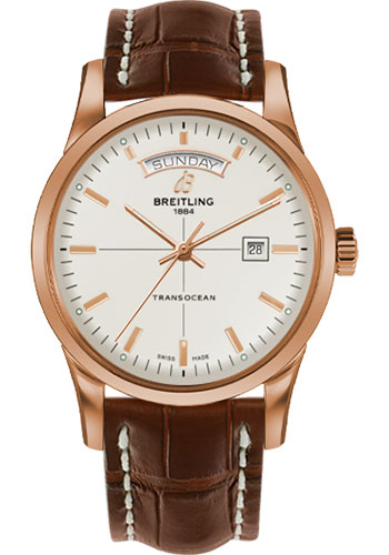 Breitling Watches - Transocean Day and Date Red Gold on Croco Deployant - Style No: R4531012/G752-croco-gold-deployant