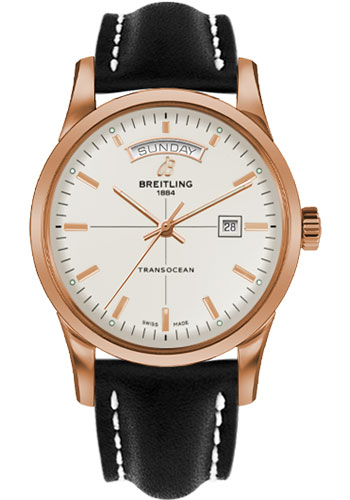 Breitling Watches - Transocean Day and Date Red Gold on Leather Deployant - Style No: R4531012/G752-leather-black-deployant