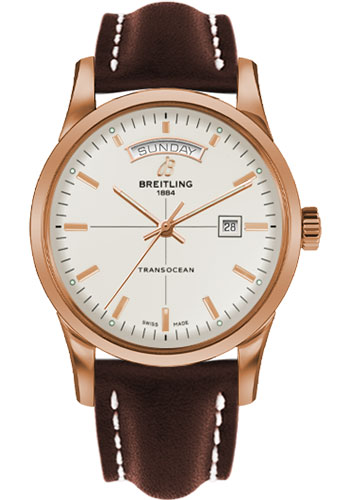 Breitling Watches - Transocean Day and Date Red Gold on Leather Deployant - Style No: R4531012/G752-leather-brown-deployant