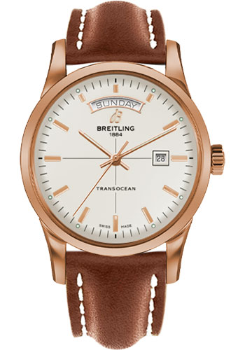 Breitling Watches - Transocean Day and Date Red Gold - Leather Strap - Deployant - Style No: R4531012/G752/434X/R20D.1