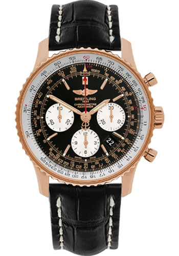 Breitling Watches - Navitimer 01 43mm - Red Gold - Croco Strap - Deployant - Style No: RB012012/BA49-croco-black-folding