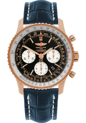 Breitling Watches - Navitimer 01 43mm - Red Gold - Croco Strap - Tang - Style No: RB012012/BA49-croco-blue-tang