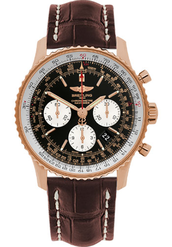 Breitling Watches - Navitimer 01 43mm - Red Gold - Croco Strap - Tang - Style No: RB012012/BA49-croco-brown-tang
