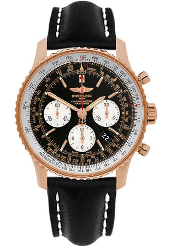 Breitling Watches - Navitimer 01 43mm - Red Gold - Leather Strap - Deployant - Style No: RB012012/BA49-leather-black-folding