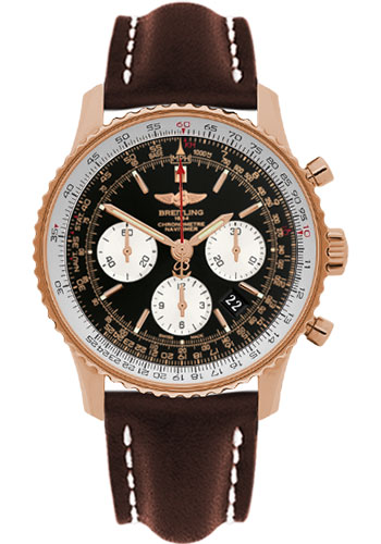 Breitling Watches - Navitimer 01 43mm - Red Gold - Leather Strap - Tang - Style No: RB012012/BA49-leather-brown-tang