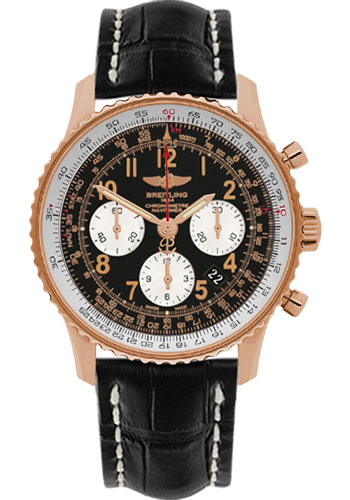 Breitling Watches - Navitimer 01 43mm - Red Gold - Croco Strap - Tang - Style No: RB012012/BB07-croco-black-tang