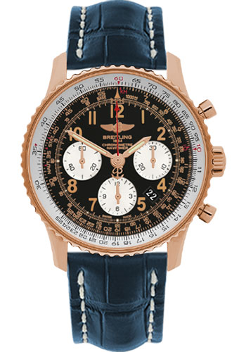 Breitling Watches - Navitimer 01 43mm - Red Gold - Croco Strap - Tang - Style No: RB012012/BB07-croco-blue-tang