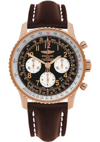 Breitling Watches - Navitimer 01 43mm - Red Gold - Leather Strap - Tang - Style No: RB012012/BB07-leather-brown-tang