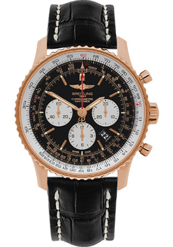 Breitling Watches - Navitimer 01 46mm - Red Gold - Croco Strap - Deployant - Style No: RB012721/BD10-croco-black-deployant