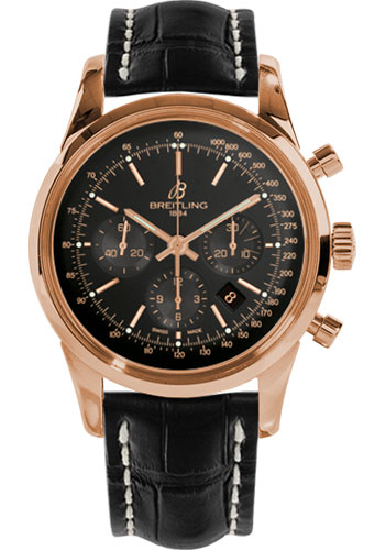 Breitling Watches - Transocean Chronograph Red Gold - Croco Strap - Tang - Style No: RB015212/BB16-croco-black-tang