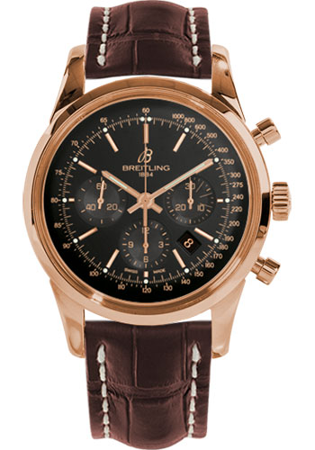 Breitling Watches - Transocean Chronograph Red Gold - Croco Strap - Tang - Style No: RB015212/BB16-croco-brown-tang