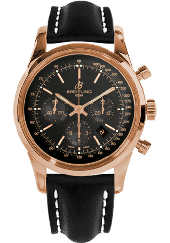 Breitling Watches - Transocean Chronograph Red Gold - Leather Strap - Deployant - Style No: RB015212/BB16-leather-black-deployant
