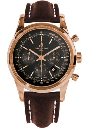 Breitling Watches - Transocean Chronograph Red Gold - Leather Strap - Deployant - Style No: RB015212/BB16-leather-brown-deployant