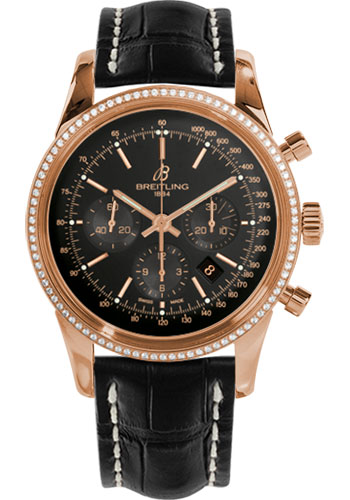 Breitling Watches - Transocean Chronograph Red Gold - Dia Bezel - Croco Strap - Deployant - Style No: RB015253/BB16-croco-black-deployant